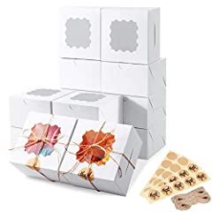 【50 Pack 4x4x2.5 White Bakery Boxes】Completed with 50 pack 4x4x2.5 cookie boxes, 100 pcs stickers and jute twine enough to use. Eupako cute treat boxes are made of premium food grade and recyclable cardboard, with no toxins or harsh chemical additive...