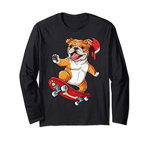 English Bulldog Skateboard Funny Dog Lover Skateboarding Langarmshirt