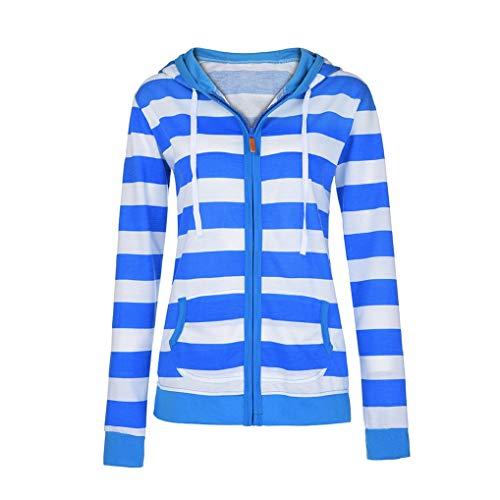 TUDUZ Sale Women Hoodie Coat Ladies Zipper Stripe Hooded Sweatshirt Casual Slim Sport Jacket Jumper Tops with Pocket(Blue,S=UK(6))