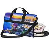 Bolsa de Viaje Santorini con diseño de paisajes Tradicionales, Bolsa de Viaje de Gran Capacidad, Bolsa de Gimnasio, para Hombres y Mujeres, con Compartimento para Zapatos, Bolsa de Deporte