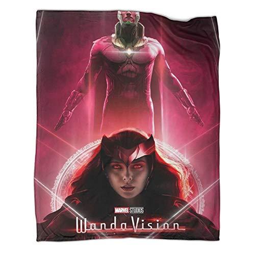 Manta para todas las estaciones, diseño de superhéroe Wanda Visión, cómoda, lujosa de piel sintética (80 x 100 cm)