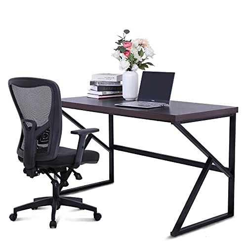 MAISON ARTS Computer Office Desk and Chair Set, 55' Large Modern Writting Desk with Ergonomic Mesh Office Chair Wood Work Table Hight Back Task Chair for Home,Office,Bedroom,Brown Desk & Black Chair