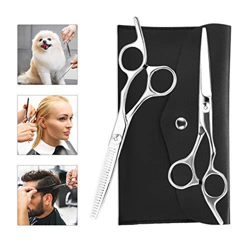 Haarschere Set,Premium Scharfe Haarschneideschere Friseurscheren,Friseurschere mit Einseitiger Mikroverzahnung für Perfekten Haarschnitt,Haarschneideschere Präziser Schnitt für Damen und Herren