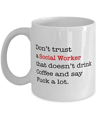 Divertida taza de café, taza de trabajo social, regalo de trabajador social, taza de café de 12 onzas, taza de té o café, taza de café novedosa para mujeres y hombres