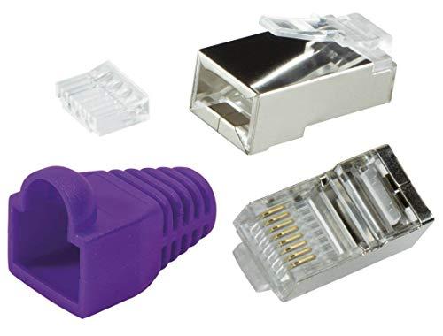 odedo 10 Pack – Conector Crimp Cat6 Metal (apantallados con Asistente y protección contra torceduras, Crimp Conector de Red lankabel de Red Macho RJ45 Cat 6