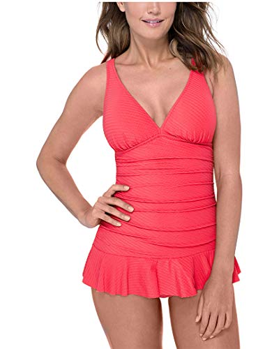 Profile by Gottex Women's Cup Sized V-Neck Swimdress One Piece Swimsuit, Ribbons Coral, 6D