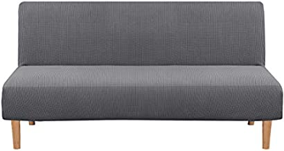 H.VERSAILTEX Armless Futon Cover Stretch Sofa Bed Slipcover Protector Elastic Feature Rich Textured High Spandex Small Checks Jacquard Fabric Sofa Shield Futon Cover, Machine Washable, Gray