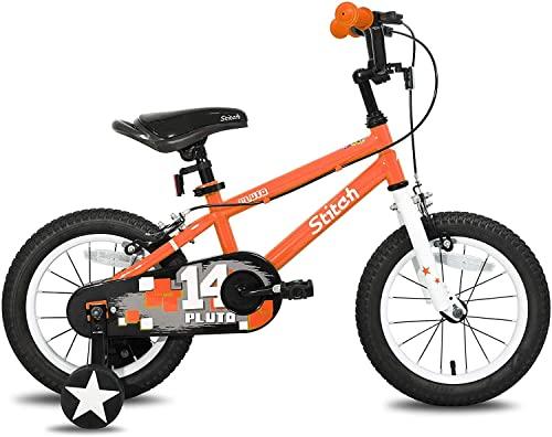 WYYHYPY Bicicleta infantil para niños de 3 a 7 años de edad con estabilizadores 85 % montado bicicletas y vehículos (color: naranja, tamaño: 14 pulgadas)