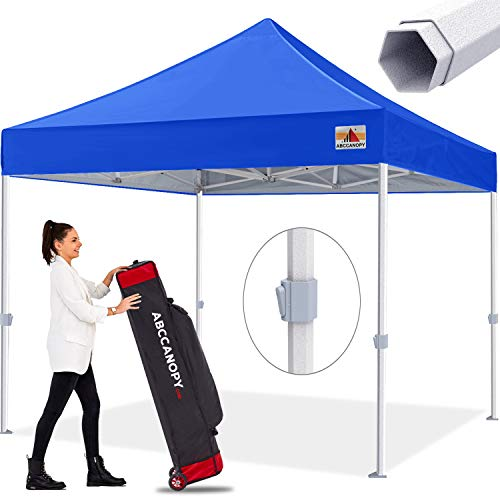 ABCCANOPY Premium Pop up Canopy Tent Outdoor Commercial Grade Instant Shelter, Bonus Wheeled Carry Bag and 4 Sand Bags, Blue