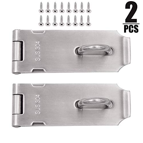 2 PCS 4 Inch Padlock Hasp, KINJOEK Stainless Steel Security Door Clasp Hasp Lock Latch, 2mm Extra Thick Door Gate Bolt Lock with 16 Mounting Screws