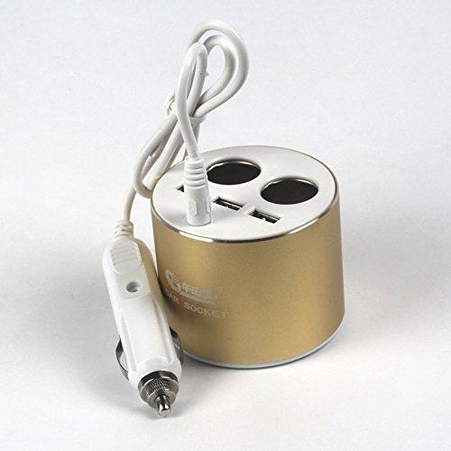 Gyafam aansteker, rond, een tweede sigarettenaansteker-aansluiting, 3 x USB-interface, ABS-kunststof, bestand tegen hoge temperaturen, goudkleurig