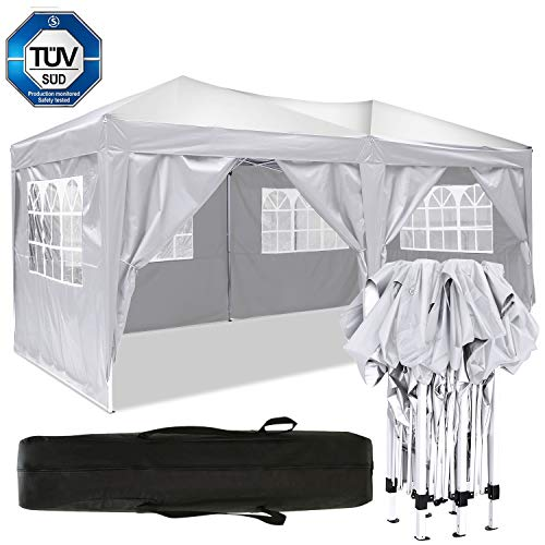 Eloklem Gazebos 3x3m/3x6m Waterproof Pop up Tent Shade Shelters With Walls for Party Wedding Ceremony (3x6m, B_White)
