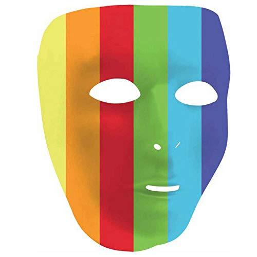 Amscan Striped Rainbow Plastic Full Face Mask, 8.5' x 6.5'