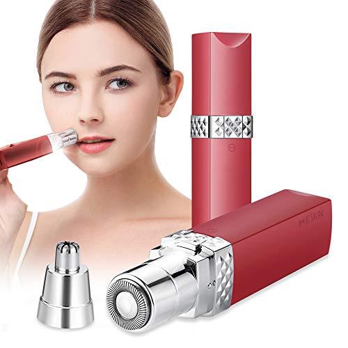 Depiladora Facial Mujer Electrica Afeitadora Removedor de Vello 2 en 1 Maquina Depilar Facial USB Recargable Impermeable Portátil sin Dolor Luz LED para Mejillas Labios Barbilla Cuello Cejas