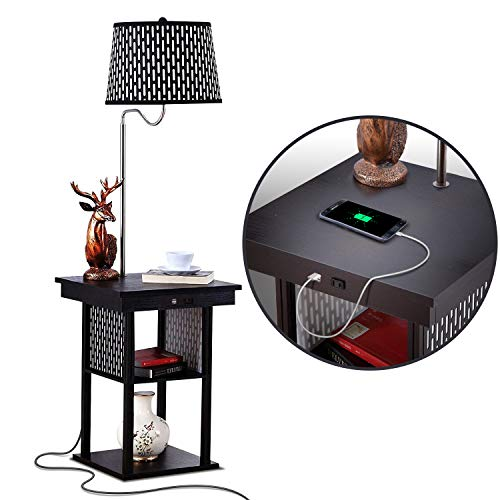 brightech desk lamps Brightech Madison - Narrow Nightstand with Built in Lamp, USB Port & Shelves for Bedrooms - Mid Century Modern End Table & Attached Floor Lamp for Living Rooms - Side Table & Reading Light - Black