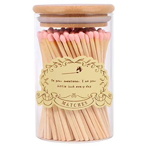 Wooden Matches Decorative,Colored Long Matches for Candles,Artisan Matchsticks,Bottle Matches Sticks for Grills,Camping,Fireplaces Use& Wedding,Christmas,Birthday Gift (80 Pack) (Pink Trumpet)
