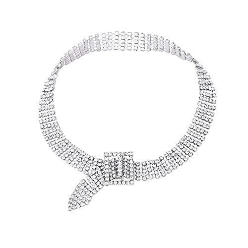 BACKZY MXJP Collar Collar Corto Cuello Cerrado con Cadena De Hueso Mujer