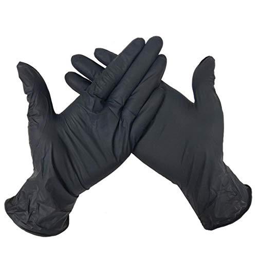 100 pezzi di guanti da meccanico in nitrile nero monouso tatuaggio polvere di lattice officina gratuita cucina universale / lavastoviglie / / lavoro, nero, S 10 pezzi