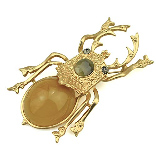 QPODGQ Brooch Beetle Female-Specific Accessories Gold Metal Pin Insect Beetle Brooch Large Resin Brooch