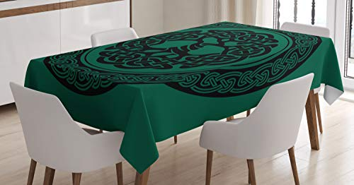 Ambesonne Celtic Tablecloth, Monochrome Tree of Life Illustration with Ancient Timeless European Motif, Dining Room Kitchen Rectangular Table Cover, 52' X 70', Green Black