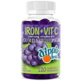 Dippin' Dots - Iron with Vitamin C & B12 Gummies (120 Count) Vital for Red Blood Cell Formation | Gum Drop Grape Real Pectin Fruit Chew Supplements | Vegan, Non-GMO, Gluten Free & Gelatin Free