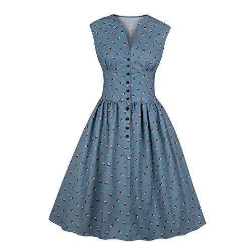 Wellwits Damen-Teekleid (Tea Dress) mit V-Ausschnitt,Split Neck, Blumenmuster, mit Knöpfen, 1940er-/1950er-Jahre, Vintage-Stil - Blau - 34-36