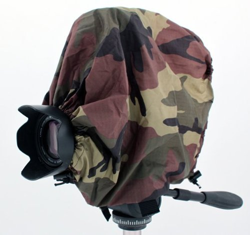 "Camouflage Camera Rain Cover For Canon Models with lens combinations up to 13"" long: Canon Rebel XT XTi XS XSi T1i T2i T3 T3i T4i T5 T5i T6 T6i T6s 5DS 5DSR 6D 7D 10D 20D 30D 40D 50D 60D 60Da 70D 300D 350D 400D 450D 500D 1000D SL1 EOS M M2 M3 5D 1D 1Ds 1Dx 1v Mark I II III IV MKII MKIII MKIV MK1 MK2 MK3 MK4 T2 K2 A1 AE1 AT1 AV1 EF F1 FTB T90"