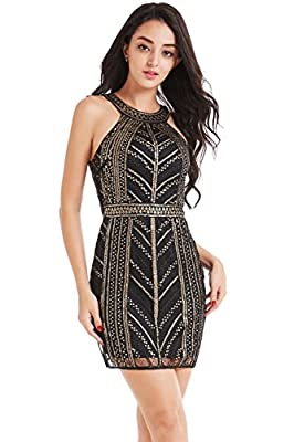 BABEYOND Sequined Bodycon Club Dress Sequined Cocktail Dress Bandage Bodycon Mini Dress