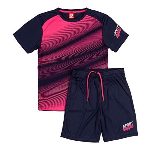 ALPHADVENTURE Go&Win Conjunto Deportivo Manga Corta Rosa y Azul Dynamo Jr para Niño (Rosa y Navy, Numeric_160)