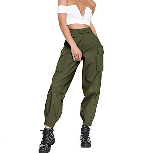 guyueqiqin Women's Cargo Pants, Casual Outdoor Solid Color Elastic High Waisted Baggy Jogger Workout Pants with Pockets(S,Army Green)