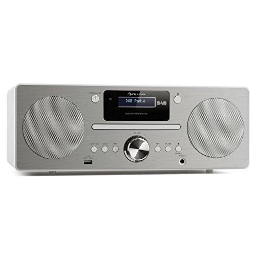auna Harvard Stereo Kompaktanlage Special Edition, Microanlage mit DAB/DAB+ -Tuner, 2 x 10W RMS, Bluetooth 3.0, USB, Bluetooth, AUX, RDS-Informationen, Wecker, Impedanz: 4 Ohm, MDF, weiß