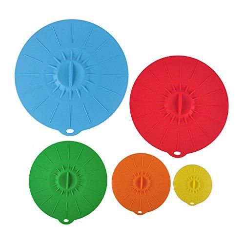 Coque en silicone Aspiration couvercles hermétique Nourriture Coque sans BPA Coupe 10,2 cm, 15,2 cm, 20,3 cm, 25,4 cm, 30,5 cm pour tasses plats Poêle pour garder la nourriture propre et frais