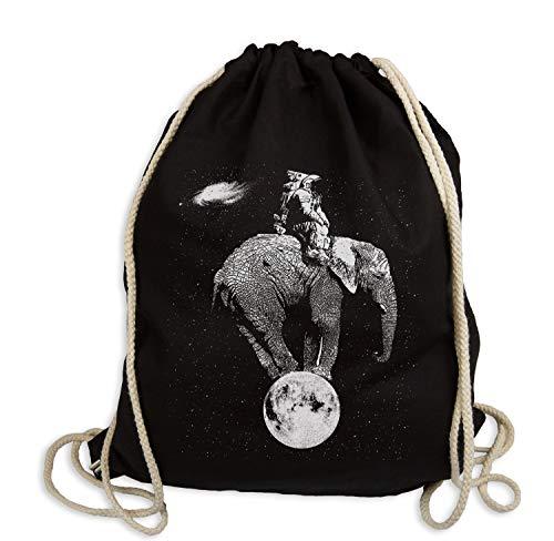 Ma2ca® Space Elephant - Gymsac Turnbeutel - Stoffbeutel Hipster Sportbeutel Rucksack bedruckt Tasche Weltall Astronaut Indien Afrika Elefant