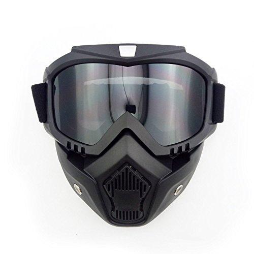 Anzene Máscara de casco de motocicleta Máscara de combinación desmontable gafas protectoras (Gris)