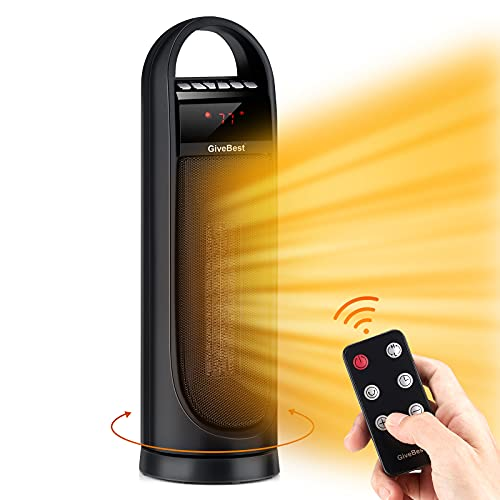 """22"""" Tower Space Heater, 1500W 900W Ceramic Quiet Room Heater with Remote Control, Oscillation, Thermostat, Overheat & Tip-Over Protection, Digital Rotating Heater for Room Home Office"""