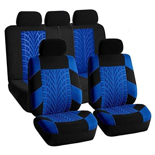 YBINGA Funda universal para asiento de coche, transpirable y de refrigeración, protector de asiento de coche, fundas de cojín para asiento delantero (color: juego de 5 asientos), color azul
