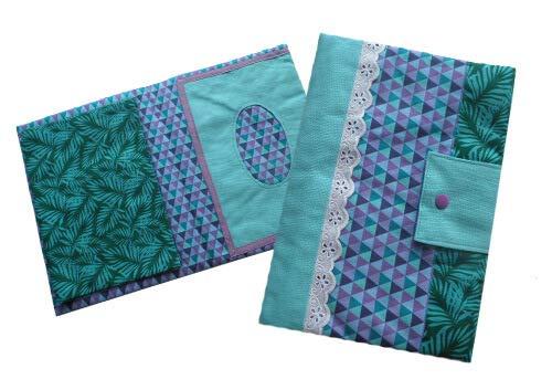 Stoffpaket Wickeltasche Lulu - Petrol mit Blüten und Dreiecken - Lila, One Size