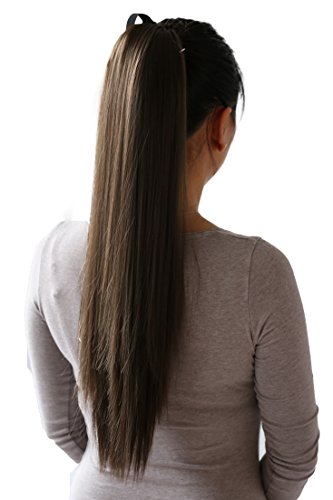 PRETTYSHOP 60cm Haarteil Zopf Pferdeschwanz Haarverlängerung Glatt Braun HC7
