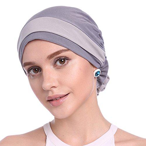 Yinuneronsty Elegante Gorro De Flores Elástico para Mujer, Color Musulmán, Turbante, Quimio, Cáncer, Gorro, Gorro