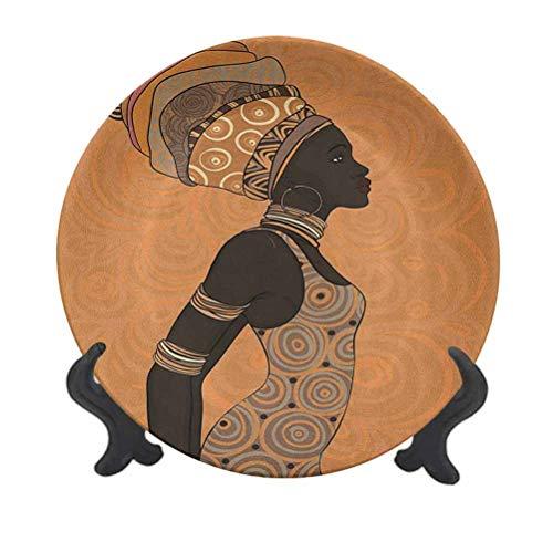 Plato decorativo de cerámica para mujer, de 20,32 cm, diseño de pueblos indígenas de África con turbante tradicional y vestido, plato de cerámica decorativo para mesa de comedor, decoración del hogar