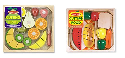 Melissa & Doug Cutting Food - Play Food Set With 25+ Hand-Painted Wooden Pieces, Knife, and Cutting Board With Cutting Fruit Set - Wooden Play Food Kitchen Accessory