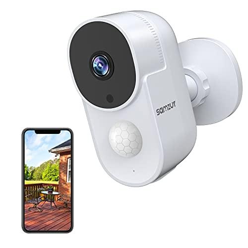 Samzuy Überwachungskamera Aussen Akku,Kabellose 1080P WLAN IP Kamera,Wiederaufladbare Outdoor Kamera,PIR-Bewegungserkennung,2-Wege Audio,IR Nachtsicht,IP65 Wasserdicht