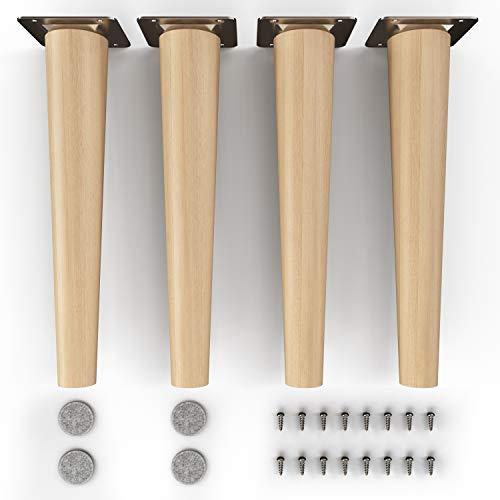 gambe per mobili in legno - sossai® Clif | Finitura ad olio | Altezza: 25 cm | HMF1 | rotondo, conico (versione diritta) | Materiale: legno massello (faggio) | per sedie, tavoli, armadi ecc.