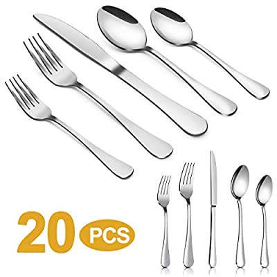 Silverware Set?MASSUGAR 20-Piece Silverware Flatware Cutlery Set, Stainless Steel Utensils Service for 4, Include Knife/Fork/Spoon, Mirror Polished (20-Piece)