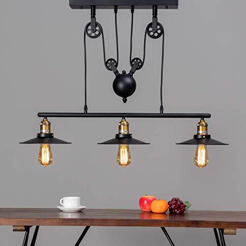 KOSILUM - Lampe industrielle suspension - Triple Piattino - Lumière Blanc Chaud Eclairage Salon Chambre Cuisine Couloir - 3 x 60W - - E27 - IP20