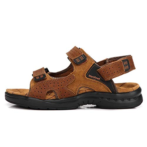 MarsRoad Mens Athletic Sport Outdoor Open Toe Sandals Summer Fisherman Leather Beach Slippers Sliders Shoes for Streaming Boating Hiking (Numeric_10) Brown