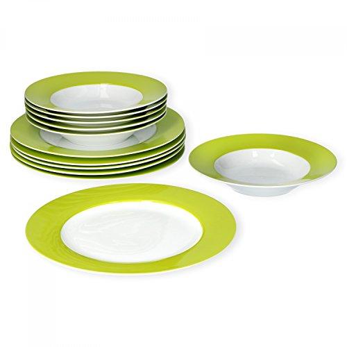 Van Well Tafelservice 12-TLG. für 6 Personen Serie Vario Porzellan - Farbe wählbar, Farbe:grün