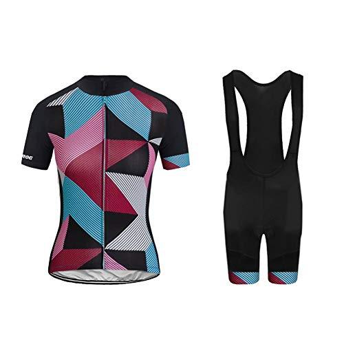 Uglyfrog Radtrikot Damen Kurzarm Fahrradbekleidung Set Outdoor Sports Radfahren Jersey + Radfahren Latzhose Strap Shorts im Sommer