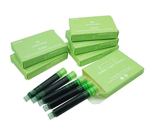 Cartuchos de tinta para pluma estilográfica Hongdian, diámetro de 3,4 mm, 30 cartuchos de tinta de color verde
