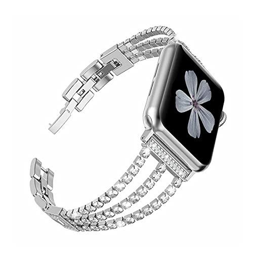Jyllythy Steel Watch Band Bracelet Strap for Apple Watch,Women Rhinestone Steel Link Band Iwatch Series 6/5/4/3/2/1/SE Bracelet Metal Strap (38/40 mm,Silver)